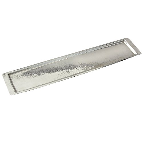 - Elegance Stainless Steel Hammered Rectangular Tray, Large, 25.5 by 5.5-Inch, Silver