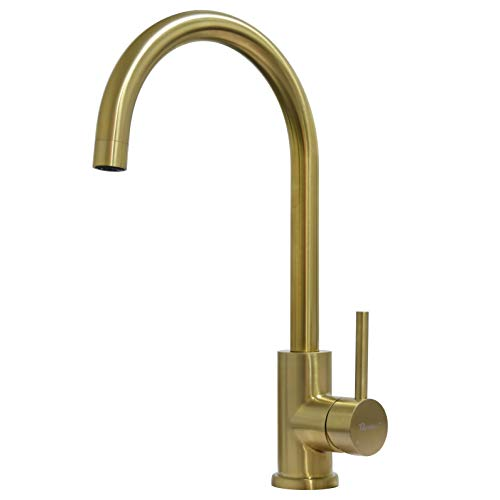 Trywell Single Handle Lead Free Kitchen Bar Sink Faucet, T304 Solid Stainless Steel, Gold Finish
