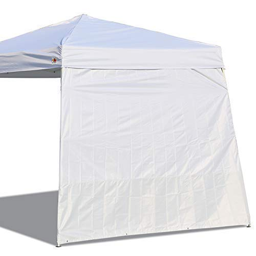 ABCCANOPY 15 Colors 10 Sun Wall for 10 x 10 Straight Leg pop up Canopy, 10 Sidewall kit 1 Panel with Truss Straps Slant White