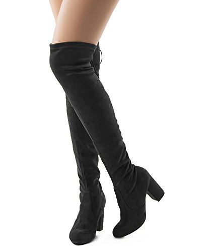 RF Women's Thigh High Over The Knee Block Chunky Heel Pointy Round Toe Boots