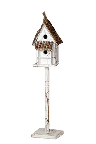 Your Heart's Delight Wood Os Cottage Post Birdhouse, 37-Inch, White