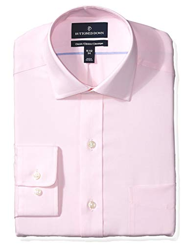 BUTTONED DOWN Men's Classic Fit Spread Collar Solid Non-Iron Dress Shirt, Light Pink/Pockets, 15