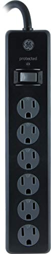 Slimline Twist - GE 6 Outlet Surge Protector, 4 Ft Extension Cord, Power Strip, 800 Joules, Twist-To-Close Safety Covers, Black, 33659