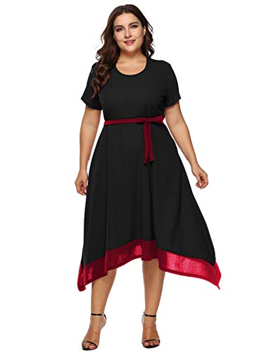 Jhichic Women's Plus Size Color Block Irregular Hem Empire Waist Wrap Short Sleeve Casual Party Midi Dress (Black, XXXL)