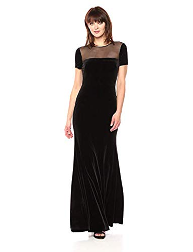 Vera Wang Women's Cap Sleeve Velvet Gown with Sheer Yoke, Black, 2 ()