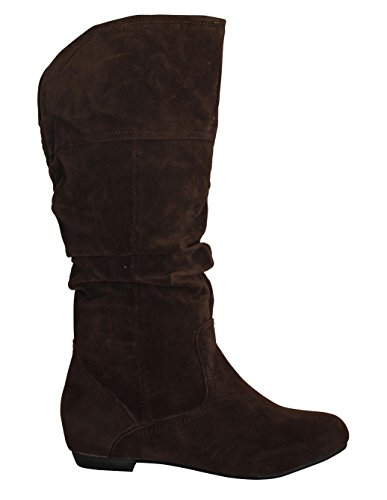 Microsuede Flat 6 Heel Pull 5 Calf B Mid M Slouchy Boots Women's Via Brown Op Collection PINKY US Vinilla wvqx61X6