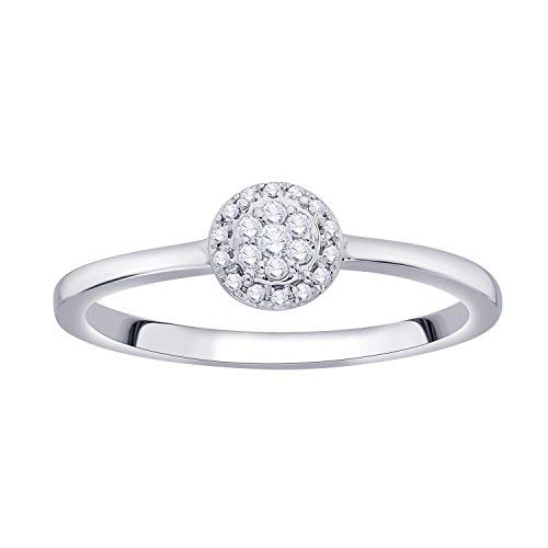 Round Cubic Zirconia Accent Flower Cluster Halo Fashion Ring in 925 Sterling Silver (0.09 Cttw) ()