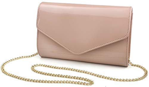 Glossy Envelope Evening Clutch Faux Patent Leather Women Chain Shoulder Bag Solid Color Purse (Nude) -