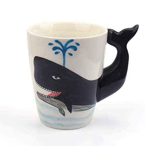 Coffee Mug with 3D Handle,Creative Hand Painted Whale Ceramic Mug 13oz,Porcelain Morning Cup for Milk Tea,Novelty Funny Cartoon Animal Drinking Mug,Cute Birthday Gift for Women Kids (Whale)