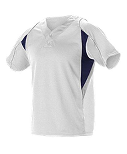 Alleson Adult 2 Button Henley Baseball Jersey White, Navy, Grey L 529 529-WHNAGR-L (2 Button Henley Baseball Jersey)