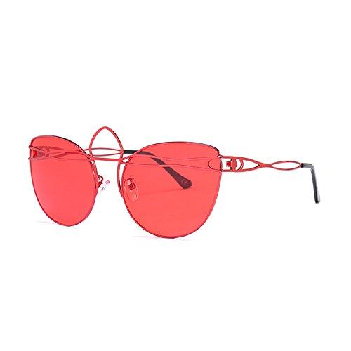 Gafas Sol Tonos G437 Gato Gafas Señoras C7 De Bastidor Mujeres Hueco De Uv C8 Ojo Red Red Aleación De TIANLIANG04 Vintage Gafas 6P4zT