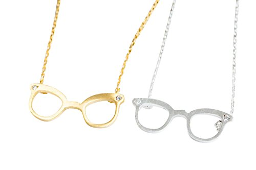 Eyeglasses Charm - Cz Cubic Zirconia Harry Matte Silver Porter Cool Bff Best Friends Bohemian Boho Jewelry friendship Circle Round Eyeglass Glasses Eyeglasses Pendant Charm Chain Necklace For Women Teens Girls