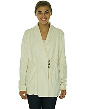Women's Long Sleeve Ribbed Button Front Sweater Natural XL