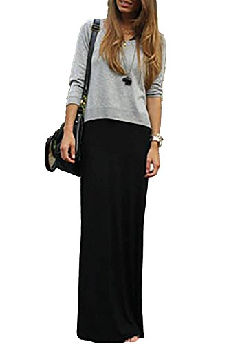 GotStyle Vivicastle Women's Spand Long Solid Rayon Foldover Maxi Skirt (Medium, Black)