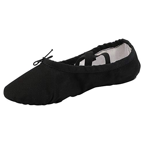 Women's Ballet Practice Ballroom Dance Shoes Canvas Belly Slippers Split-Sole(11, Black)