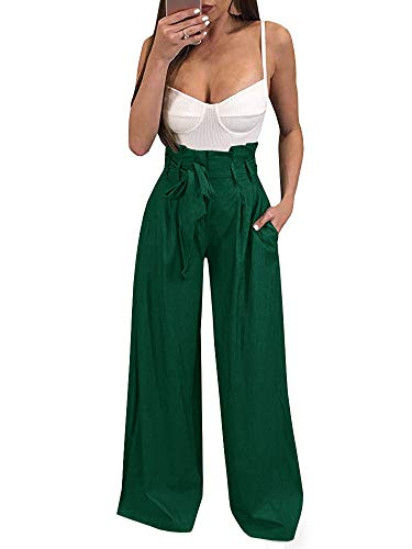 Geckatte Womens Palazzo Wide Leg Pants High Waist Casual Loose Flowy Pants with Belt (Large, Z-Blackish green)