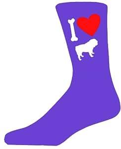 Purple ladies Novelty Bulldog calcetines–I Love My calcetines de perro
