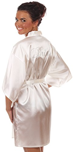 VEAMI Women's Short Kimono Robe-White Magnolia-Medium, Bride Edition