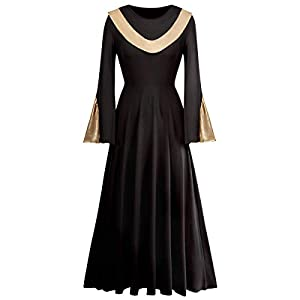 IBAKOM Women Metallic Gold Liturgical Praise Dance Worship Dress Long Sleeve Loose Fit Full Length Dancewear Tunic…