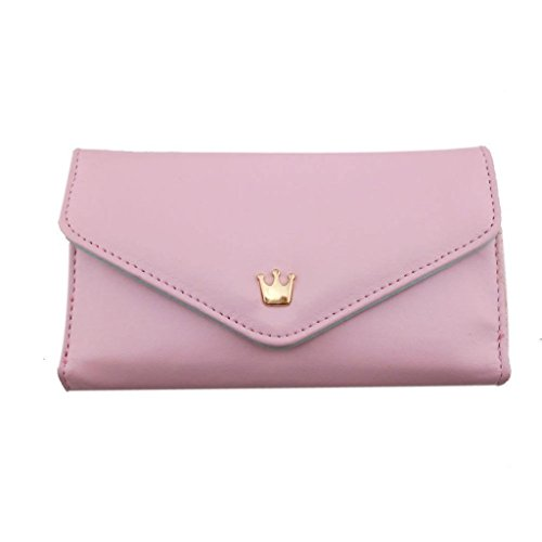 Wallet Crown Multi Propose Envelope Purse Wallet For Galaxy S3 S4 iPhone5 4 4S 7color-Pink