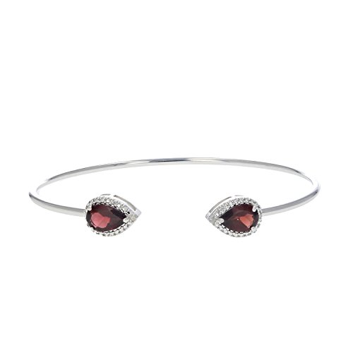 9x6MM Pear Shape 2.20 CT Garnet and Diamond Cuff Bangle