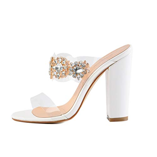 Onlymaker Women's Clear Rhinestone Studded High Heel Mules Open Toe Double Straps Slip on Chunky Heeled Sandals White 9.5 M US -