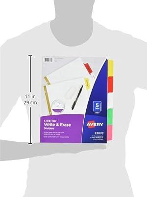 Avery Big Tab Write & Erase Dividers, 5 Multicolor Tabs, 1 Set (23076).1