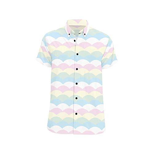 InterestPrint Mens Regular Fit Shirt Pastel Color Wave Summer Shirts Short Sleeve Top for Men L