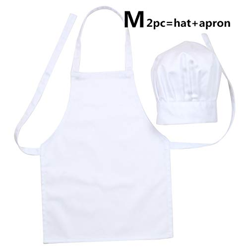 LINLIN SUN 2 Pc-White Kids'Chef Apron and Hat Set for Cooking,Baking, Painting or Decorating Party (3-8Years) ()