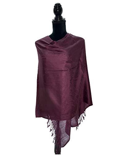 Jacquard Paisley Pashmina Shawl Scarf Stole Soft Silky Pashmina Wrap in Solid Colors Fashion Fringe (Dark ()