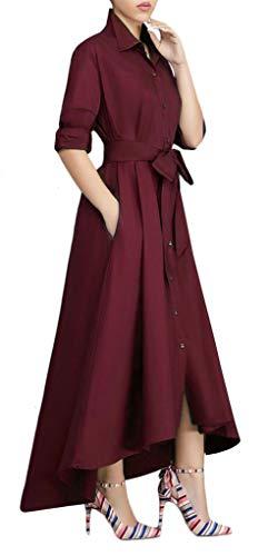 Speedle Women's Long Sleeve Solid High Low Asymmetrical Irregular Hem Casual Tops Blouse Shirt Dress Burgundy S