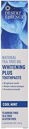 Desert Essence Natural Tea Tree Oil Whitening Plus Toothpaste - Cool Mint - 6.25 Oz - Antiseptic Tea Tree Oil - Zinc Citrate - Baking Soda - Freshens Breath - Reduced Plaque - Fluoride & Gluten Free
