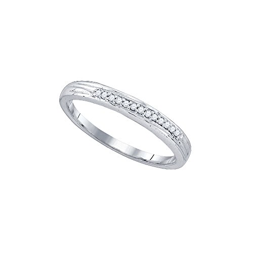 Sonia Jewels Size 8-10k White Gold Round Pave-set Diamond Simple 2mm Wedding Band 1/6 (9k Gold Pave Diamond)