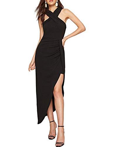 MAVIS LAVEN V Neck Maxi Dresses for Women Pleated High Waist Long Dress Evening Prom Gown Black ()