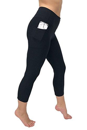 90 Degree By Reflex Women's High Waist Athletic Leggings With Smartphone Pocket - Black - Medium