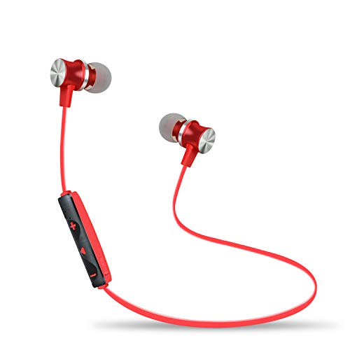 Active Noise Cancelling Bluetooth Earphones with Microphone, BYZ1 Bluetooth V4.2 Wireless Headphones in Ear Earbuds Deep Bass HiFi Stereo Sound, 8 Hrs Playtime for Travel, Work (Red)