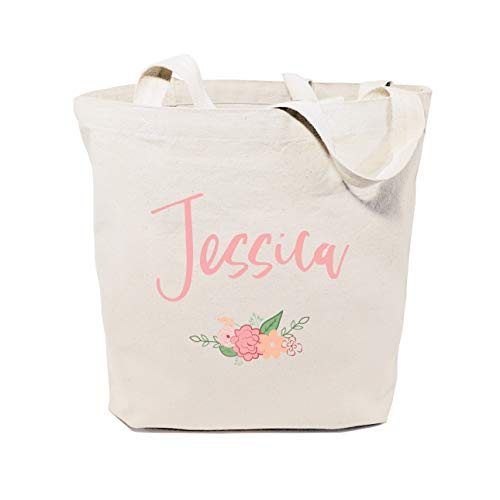 The Cotton & Canvas Co. Personalized Colored Name Floral Beach, Shopping and Travel Resusable Shoulder Tote and Handbag]()
