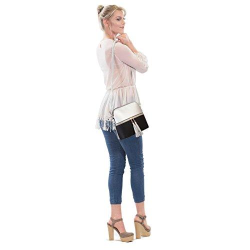 Tassel Capacity Shoulder Medium Large Leather Ladies Fashion Bag PU Crossbody 660 Purse Black silver fvHqSxwR