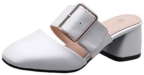 dbd99ed8c53a5 Mofri Women's Comfortable Square Toe Slip On Mid Chunky Heel Mules Sandals  (White, 5.5