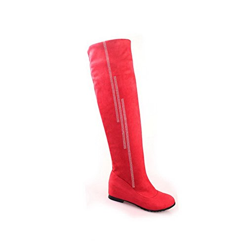 Solid Low Rubber Womens with Inside Red M Heels Boots Heighten B 7 Toe Round Closed AmoonyFashion Glass and US Diamond q4YwI0FI
