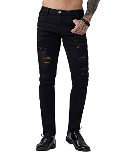 ZLZ Men's Ripped Skinny Distressed Destroyed Slim Fit Stretch Biker Jeans Pants with Holes (34, Black 01) (Slim Fit Jeans Ripped Men)
