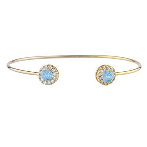 (1 Ct Blue Topaz Halo Design Bangle Bracelet 14Kt Yellow Gold Rose Gold Silver)