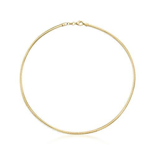 Ross-Simons Italian 3mm 18kt Yellow Gold Over Sterling Silver Round Omega Necklace ()