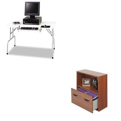 KITSAF1935GRSAF9445CY - Value Kit - Safco Folding Computer Table (SAF1935GR) and Safco Aprs File Drawer Cabinet With Shelf (SAF9445CY)