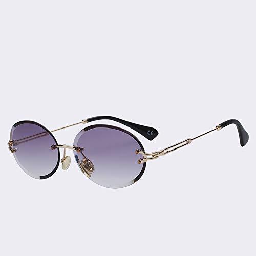 Gflotusas Retro Oval Sunglasses Women Frameless Gray Brown Clear Lens Rimless Sun Glasses for Women Uv400 Gold w gradien Smoke