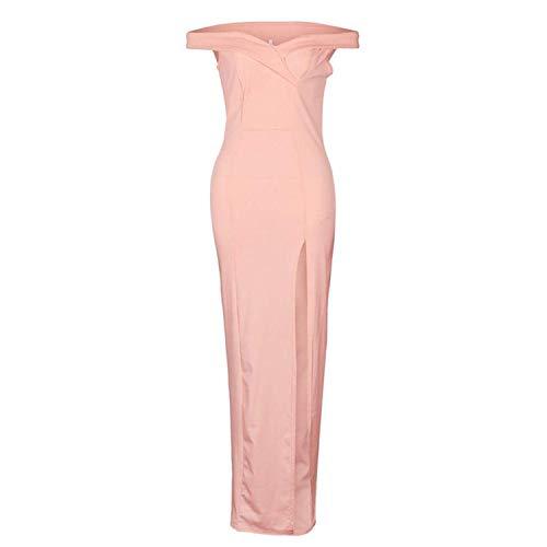 Amstt Off Pink Split Slim Party Shoulder Maxi Party Women's Gown Evening Side Dress wf5awr