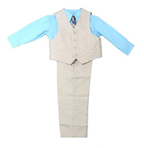 Kenneth Cole Reaction Khaki (Kenneth Cole Reaction Boys 4-Piece Pants Suit Set, Khaki/Blue (7))