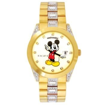 New Mens Elgin Disney Mickey Mouse MCK209 Day Date Gold Tone Bracelet (Disney Gold Tone Bracelet)