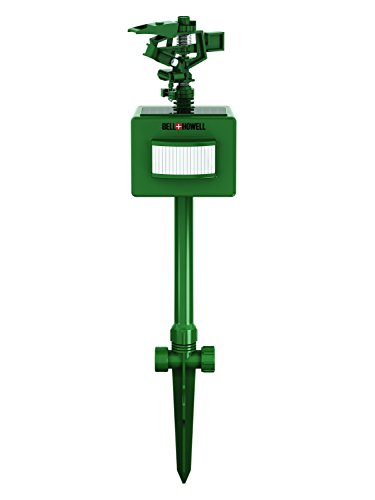 Bell & Howell Solar Powered Spray Away Motion Activated Sprinkler Animal Repeller - Detects and Sprays Both Day and Night - Covers Up to 30 Feet Away - Connects to any Garden Hose - 100% Safe
