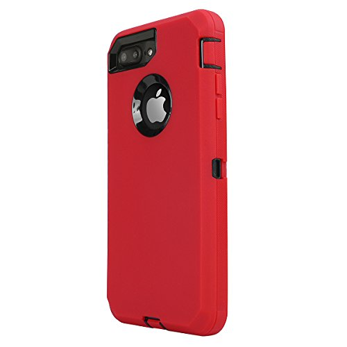 iPhone 8 Plus/ 7 Plus Case, Daul Layer Armor [Full body] [Heavy Duty Protection ] Shock Reduction / Bumper Case with built in Screen Protector for Apple iPhone 8 Plus/7 Plus (Black/Red) by AICase (Image #2)